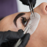 person having russian volume lash treatment